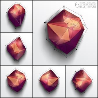 Polygonal abstract shapes vector set