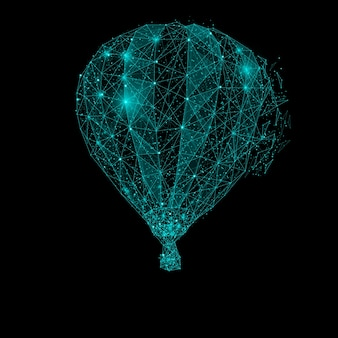 Polygonal air balloon. mesh spheres from flying debris. blue structure style illustration