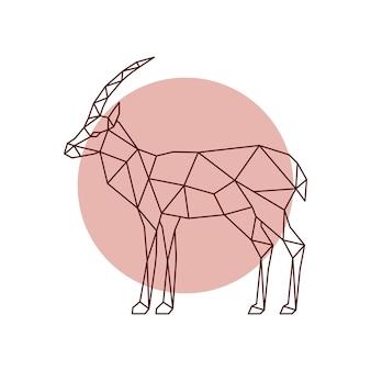 多角形のカモシカのシルエット