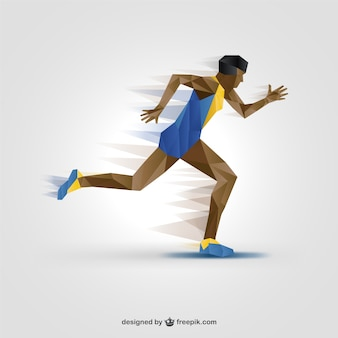 Polygonal athlete silhouette