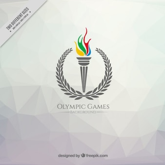 Polygonal background with a olympic games torch