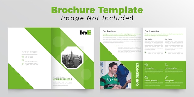 Polygonal bifold business brochure  with green color
