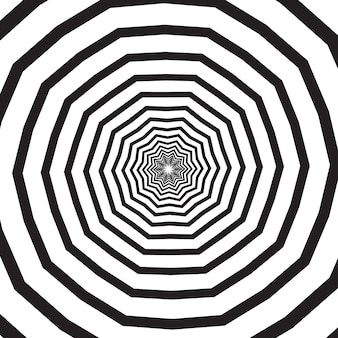 Polygonal black and white swirl, helix or vortex. psychedelic rotating effect or hypnotic spiral.  geometric monochrome vector illustration.