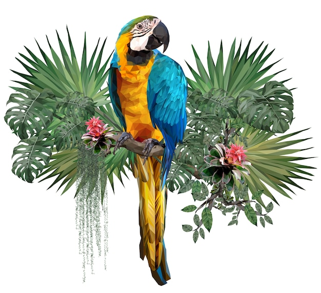 Polygonal of blue and gold macaw bird with amazon forest plants