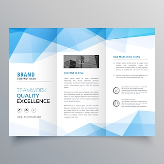 Polygonal blue trifold business brochure template