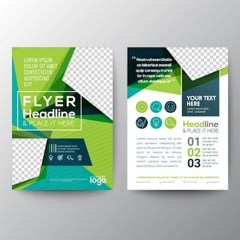 Verde triangolo forma di poster template brochure flyer