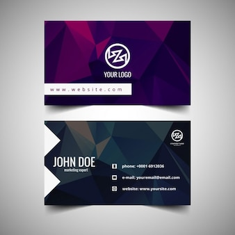 Polygonal business card in color purple