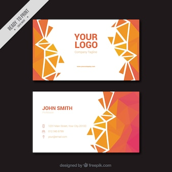 Polygonal business card in pink and orange tones