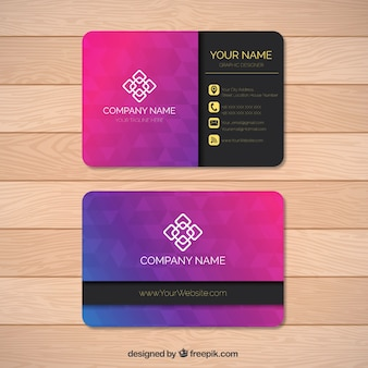 Polygonal business card in purple tones