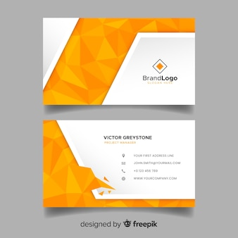 Polygonal business card template in abstract style