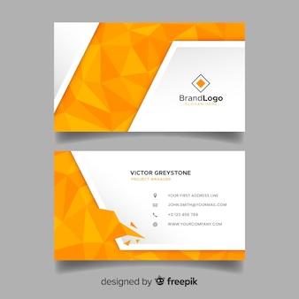 Шаблон многоугольной визитной карточки в абстрактном стиле