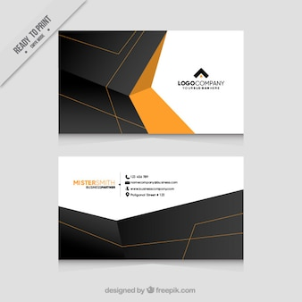 Polygonal business card with orange details