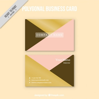 Polygonal business card with pink detail