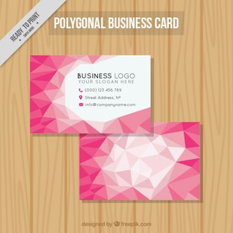 Polygonal business card with pink geometric figures