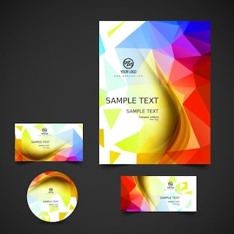 Polygonal business stationery in colorful style