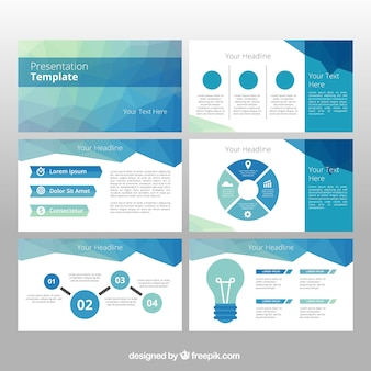 Powerpoint template vectors photos and psd files free download polygonal business template with infographic elements wajeb