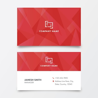 Polygonal business or visiting card in red and white color.