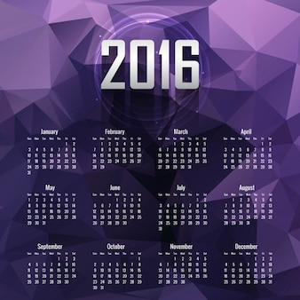 Polygonal calendar in purple tones