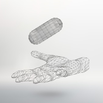 Polygonal capsule on the arm the hand holding a polygonal capsule polygon capsul