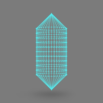 Polygonal capsule. the capsule of the lines connected dots. atomic lattice. driving constructive solution tank. white gradient background.
