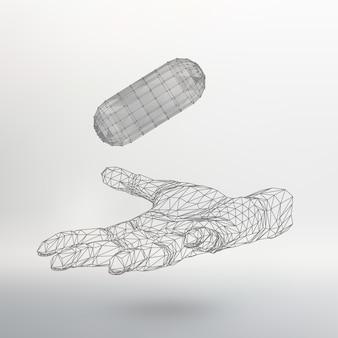 腕の上の多角形のカプセル多角形のカプセルを持っている手多角形のカプセル
