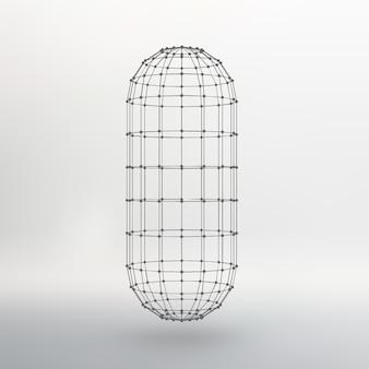 Полигональная капсула. капсула из линий соединена точками. атомная решетка. схема цистерны конструктивного раствора. белый градиентный фон.