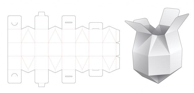 Polygonal chocolate box die cut template