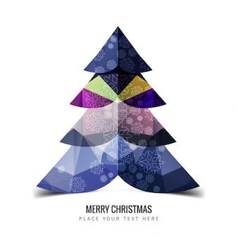 Polygonal christmas tree in purple tones