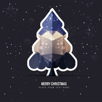 Polygonal christmas tree on starry background
