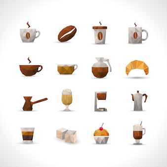 Polygonal coffee icons set