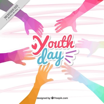 Polygonal colored hands youth day background