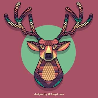 Polygonal colorful reindeer