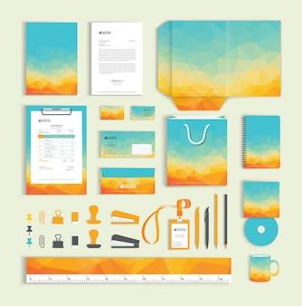 Polygonal corporate identity design template