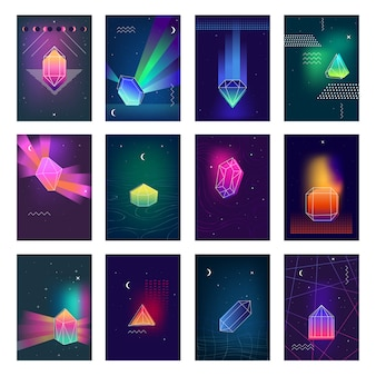 Polygonal crystals colorful images icons set