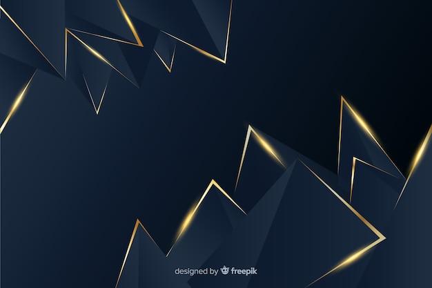다각형 어둡고 황금 배경 무료 벡터