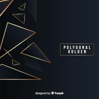 Polygonal dark and golden background