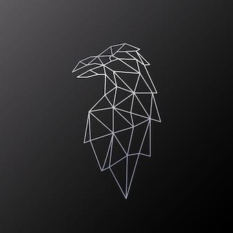 Polygonal design of raven bird