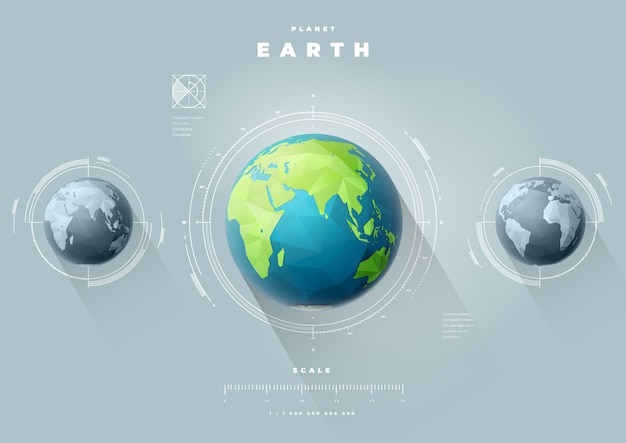 Polygonal earth and eastern hemispheres infographics
