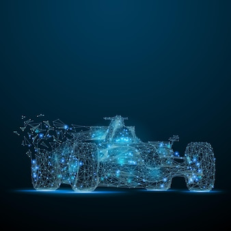 Polygonal f1 car speed concept vector bolide mesh spheres from flying debris thin line concept