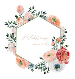 Многоугольная рамка из акварельных розовых роз, полевых цветов и зеленых ветвей
