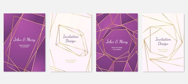 다각형 프레임 청첩장입니다. 패션 다각형 카드, 금 기하학적 선 모양 배너. 아트 현대 럭셔리 우아한 벡터 템플릿입니다. 인사말 초대장, 기하학적 카드 프레임 그림