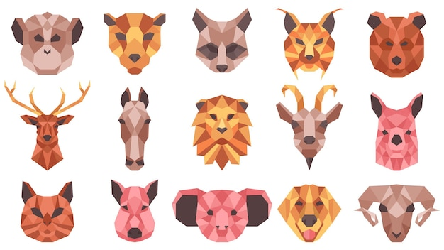 Polygonal geometric animals low poly portraits. wild and domestic animals faces, cat, horse, racoon, goat vector illustration set. geometric animal heads