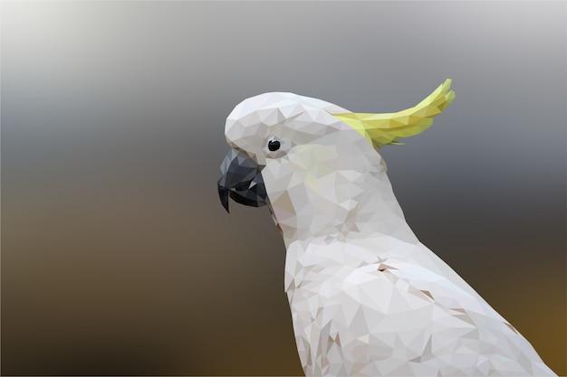 Polygonal geometric cockatoo bird animal background