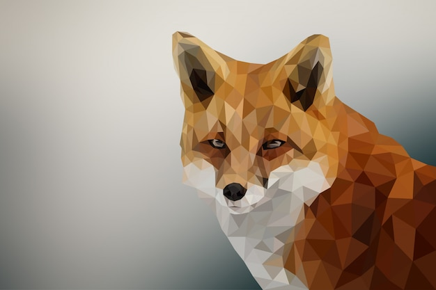 Polygonal geometric fox animal background