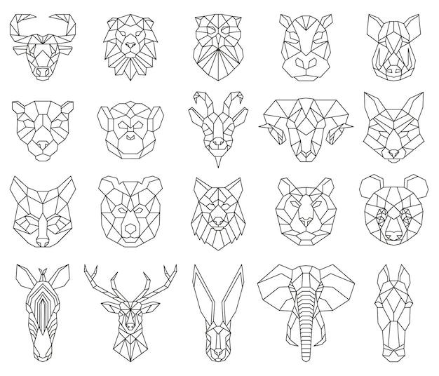 다각형 기하학적 선형 동물 여우, 사슴, 곰 초상화. 동물 머리, 올빼미, 사자, 얼룩말 및 원숭이 삼각형 초상화 벡터 일러스트 레이 션 세트. 낮은 폴리 동물의 얼굴