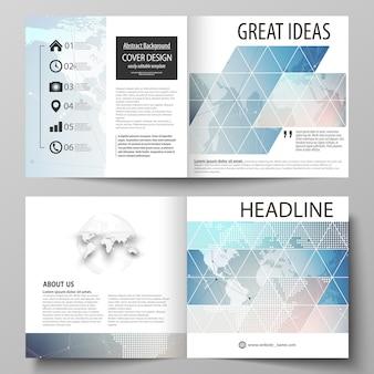 Polygonal geometric linear texture.  illustration of editable layout of  square design bi fold brochure