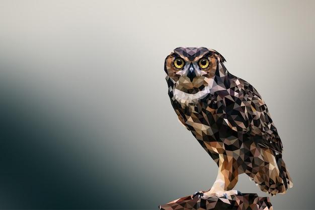 Polygonal geometric owl animal background