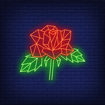 Polygonal geometric rose neon sign