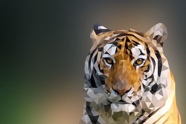 Polygonal geometric tiger animal background