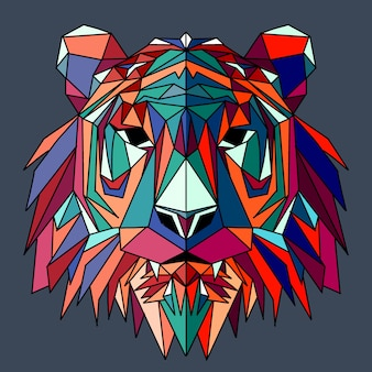 Polygonal geometric wolf head